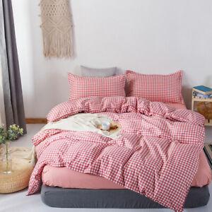 2021 Home Blue Plaid Quilt Cover Pillowcase 3 Pieces Bedding Double Large King