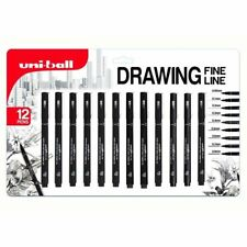 Uni-Ball Pin Fine Line Drawing Pen Set of 12 Black Waterproof Ink 0.05 to 0.8 mm