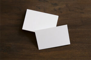 100 x White Blank Business Cards 300gsm Stamp Print White Smooth 85mm x 55mm