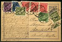 GERMANY  ZIRENBERG 1.3.23  POSTCARD GREAT FRANKING SEVERAL STAMPS DAMAGED