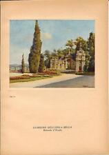 Stampa antica ISOLA BELLA rotonda nei giardini Lago Maggiore 1939 Antique print