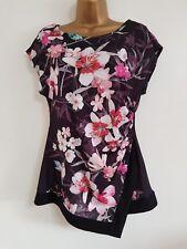 Ex Wall*s 8-20 Bird Print Asymmetric Hem Floral Tunic Top Blouse Black PinkWhite