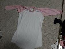 Soffe Mock Turtle Neck Long Sleeve Softball Shirt pink/white youth large