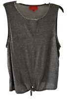 Jennifer Lopez Womens Charcoal Gray/ Black Sleeveless  Blouse Top Sz XL