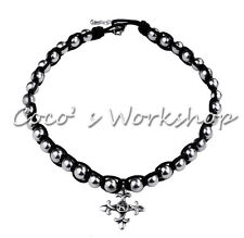 VINTAGE SILVER BLACK VICTORIAN GOTH CROSS CHOKER BEADED LEATHER BRAIDED NECKLACE