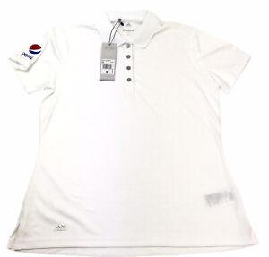 Adidas Golf Polo Shirt Womens Medium short sleeve Pepsi Logo White Dri Fit
