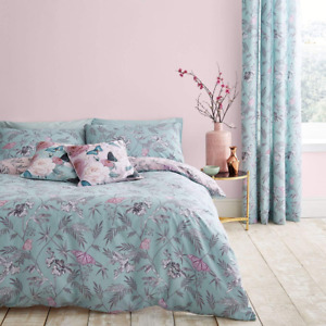 Catherine Lansfield Oriental Butterfly Duvet Quilt set Duckegg Free P&P