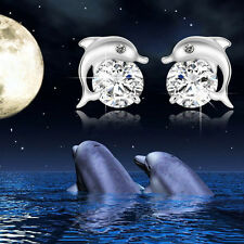 Crystal Eye Dolphin CZ Ear Stud Earrings Chic Women 925 Sterling Silver Jewelry