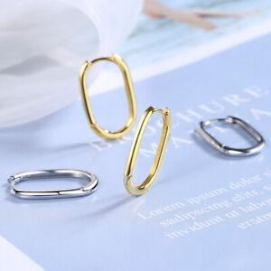 Girls Women 925 Silver Oval Shape Earrings Fashion Jewelry Hoop Earrings