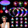 21Pcs LED Party Favor Spin Relief Anxiety Toy Glow Flashing Flower Headpiece Dec