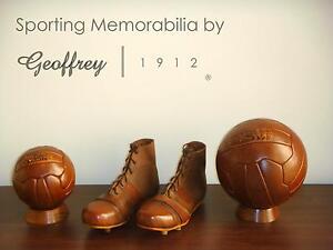 Football set   Vintage Tan Leather Footballs, Shoes & Wooden bases   Retro