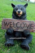 BEAR WITH WELCOME STATUE BEAR FIGURINE