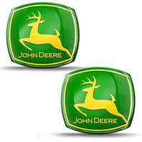 2 x 3D Silikon Aufkleber John Deere Traktoren Mähdrescher Logo Emblem Abzeichen