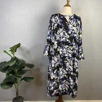 Autograph Womens Plus Size Shift Half Flared Sleeves Midi Dress Size 14