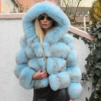 Top Quality Women's Real Whole Skin Fox Fur Coat Hoodie Jacket Hooded Overcoat