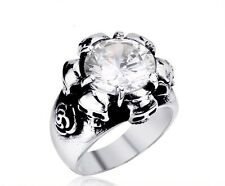 Stone Silver Stainless Unique Ring Band Mens Gothic Skull Women Biker Jewelry Cz