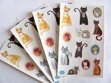 Lot of Four Large Mrs Grossman Crafty Cats Sticker Sheets - Kitty Kitten Cat