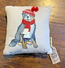 """Cozy Shop Dog Decorative Embroidered Pillow Bernese Mountain Dog 11""""x11"""" Winter"""