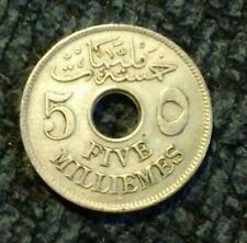 1917 Egypt 5 Milliemes - holed coin