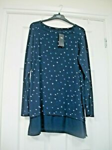M&S SIZE 16 TUNIC LENGTH JERSEY  TOP WITH  SILKY TRIM TO THE HEM