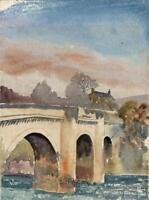 KARL WOOD (1888-1958) Watercolour Painting OLD STONE BRIDGE RIVER DON YORKSHIRE