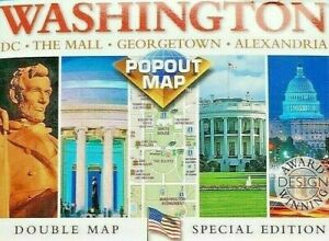 Vintage Washington D.C. Pop Out Map 3 D Double Map Booklet