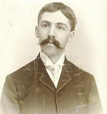 CABINET CARD PHOTO: REFINED YOUNG MAN w LARGE HANDLEBAR MUSTACHE ID'd