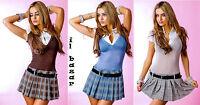 """vestito mini abito corto""""college""""finta camicia,cintura inclusa 8 colori tg u"""