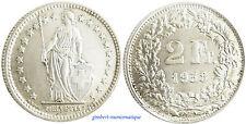 SUISSE  2  FRANCS  ARGENT  1958 B  ,  FLEUR  DE  COIN
