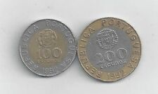 2 BI-METAL COINS from PORTUGAL - 100 & 200 ESCUDOS (BOTH DATING 1992)