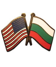 Bulgaria Friendship with USA Flag Lapel Badge Pin