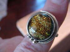 (#DR9-12) Size 9 DICHROIC GLASS SILVER RING ORANGE GREEN BLACK