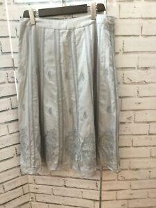 East Artisan Anokhi UK 12 Pale Blue Cotton Skirt Paisley Embroidery