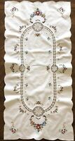 Vintage Table Runner Dresser Scarf Embroidered Cross Stitch Crochet Floral