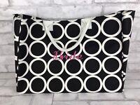 Mud Pie Bride Large Embroidered Tote Overnight Bag Organizer Black White Circles