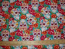 Cotton Fabric Festive Sugar Skulls Calaveras on Turquoise Floral  (DT) BTY