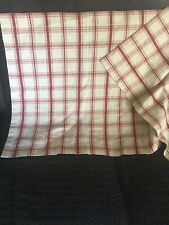 "WAVERLY Cafe Curtain Panels Tiers (PAIR) Pantry Plaid Red 27.5""x25"" Excellent"