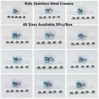 5Pc Dental Kids Primary Molar Crowns Stainless Steel Pediatric 48 Sizes Dentist