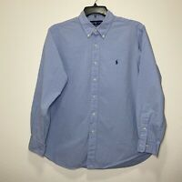 Ralph Lauren Men's Solid Blue Long Sleeve Button Down Shirt 17 34/35