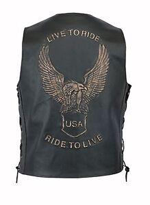 Men's Classic Motorcycle Motorbike Biker Embossed Eagle Leather Waistcoat Vest