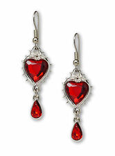 Gothic Romance Red Heart Crystal Dangle Earrings In Thorns and Roses #1048