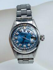 Estate $7000 Blue MOP Diamond SS Genuine ROLEX DATEJUST Ladies Watch WARRANTY