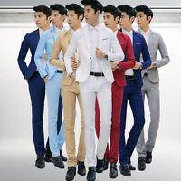 2X Men Male Slim Fit Formal Suit Coat Pant Set Blazers Jacket Bridegroom Tuxedos