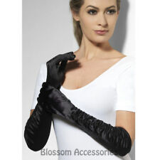 A947 Womens Long Black Temptress 1920s Costume 46cm Gloves Burlesque Flapper