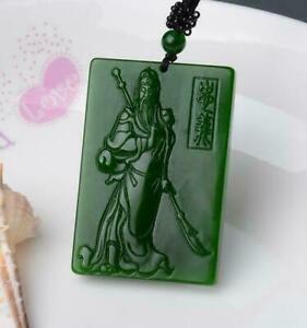 Amulet Jasper  statue New  engraving Natural Necklace 关公 Pendant Green jade