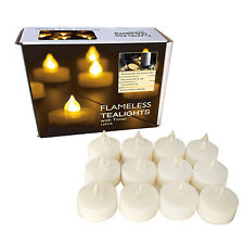 Set of 12 Long Battery Life (200 Hours) Flameless Tealights with Timer