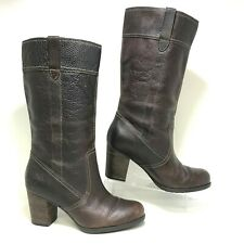 TIMBERLAND Rudston Brown Leather High Heel Mid Calf Boots Womens Size 8M