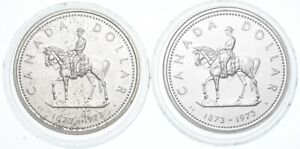 Lot Of 2 1973 & 1973 Canada Canadian Silver Dollar Coin .500 Silver 50% *639