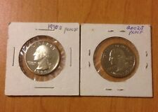 Lot Of 2 Proof Washington Quarter Dollars, 1990S & 2002S (Indiana)