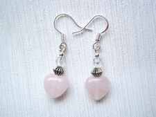 Quirky ROSE QUARTZ HEART DROP Bead Earrings 925 Silver Hook VALENTINES Healing